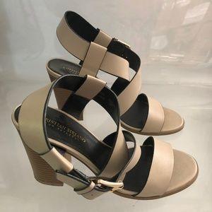 Beige Christian Siriano Block Heel Sandals - 9